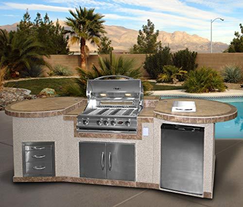 Cal Flame e3022-Z Metador e3022 Outdoor BBQ Kitchen Island, Earth Tone