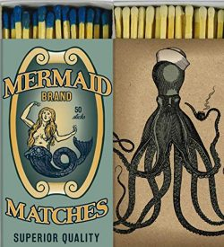 Decorative Matches Mermaid and Octopus Match Boxes with Long Kitchen Matches Great for Lighting  ...