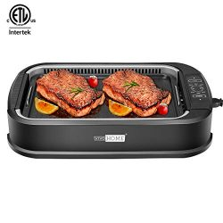 VIVOHOME Electric 1500W Smokeless Grill with Tempered Glass Lid and Removable Griddle Plates, LE ...