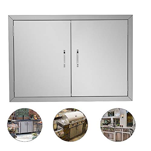 "ROVSUN Outdoor Kitchen Door, 304 Grade Heavy Duty BBQ Access Door, 30.5""W x 21""H Flu ..."