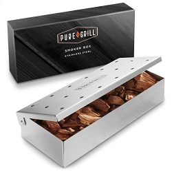 Pure Grill BBQ Smoker Box – Heavy Duty Stainless Steel with Hinged Lid for Wood Chips R ...