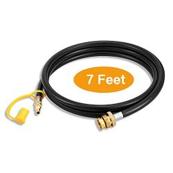 Kohree 1/4″ Quick Connect Propane Hose 7 FT Adapter Fitting Converter Replacement for RV t ...