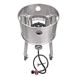 ARC USA 200,000 BTU High Pressure Propane Burner with Wheels, 10″ Cast Iron Burner Head St ...