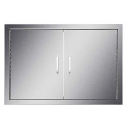 CO-Z Upgraded Outdoor Kitchen Doors, 304 Brushed Stainless Steel Double Access BBQ Doors for Out ...