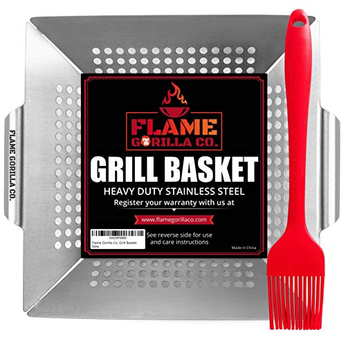 Flame Gorilla Co. Grill Basket – Vegetable Grill Baskets for Outdoor Grill – Veggie  ...