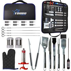 Torro Products 25PCS BBQ Grill Stainless Steel Laser Etched Logo Tool Set, Accessories, Grilling ...