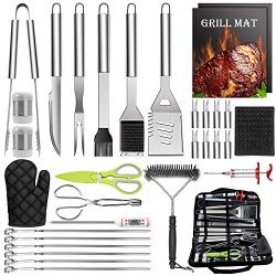 HaSteeL 32 PCS Grilling Accessories BBQ Grill Set, Stainless Steel Grill Tools with Storage Bag, ...