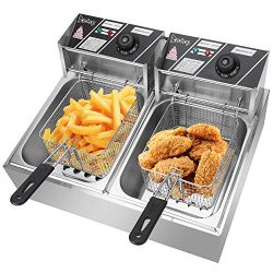 Double Fryer Electric Deep Fryer 2 Baskets, Stainless Steel Chicken Chips Fryer for French Fries ...