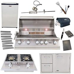 Lion 40-Inch Natural Gas Grill L90000 with 4 Ceramic Tubes w/Flame Tray and Door and Drawer Comb ...