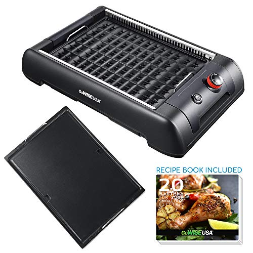 GoWISE USA GW88000 2-in-1 Smokeless Indoor Grill and Griddle with Interchangeable Plates and Rem ...