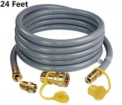 DOZYANT 24 Feet 1/2 ID Natural Gas Hose, Propane Gas Grill Quick Connect/Disconnect Hose Assembl ...