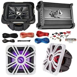 Car Subwoofer and Amp Combo: Kicker S10L74 10″ Audio Subwoofer Speaker + 10″ White G ...